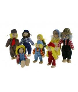 Família de granjeros, muñecos articulados