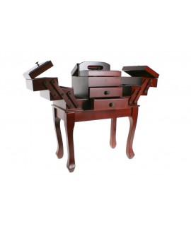 Caja de costura extensible de madera en color nogal con patas. Medidas: 49x42x24 cm.