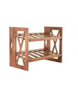 Zapatero de madera maciza de acacia para 6 pares de zapatos. Medidas totales: 45x59,5x30 cm.