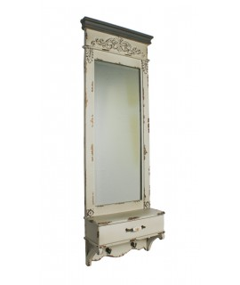 Espejo vertical de pared estilo vintage con cajón y colgadores. Medidas totales: 126x42x16 cm.