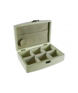 Costurero pequeño de madera vintage con separadores. Medidas totales: 7x22x15 cm.