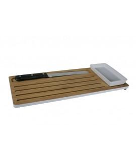 Tabla de cortar pan juego  bambú cerámica y cuchillo