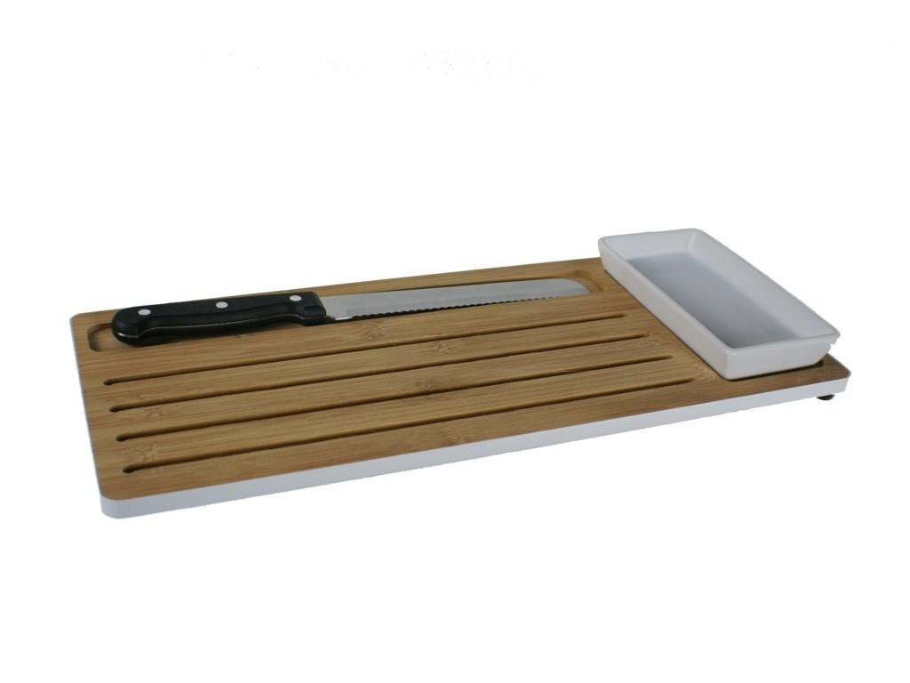 Tabla de cortar pan juego bamb cer mica y cuchillo pino y - Tabla de cuchillos ...