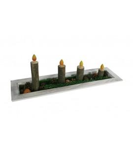 Centro de mesa velas de tronco de árbol