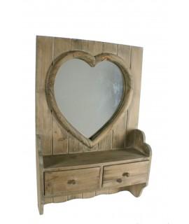 Espejo de madera maciza forma corazón vintage. Medidas totales: 60x40x12 cm.