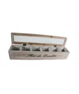 Caja de madera para infusiones de thé con 6 departamentos en interior. Medidas: 9x46x9 cm.