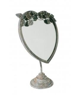 Espejo de sobremesa forma corazón acabado envejecido. Medidas totales: 46x32x14 cm.