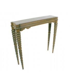 Consola pequeña de madera mindi. Medidas totales:76x82x21 cm.