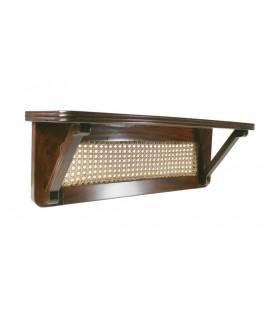Mensula de madera de caoba con decoración de rejilla. Medidas totales: 20x60x16 cm.