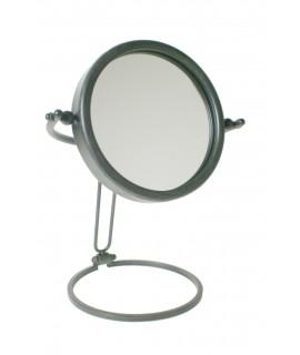 Espejo tocador graduable en altura color negro envejecido. Medidas totales: Ø 20 cm.