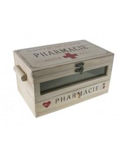Caja de madera con ventana para medicinas