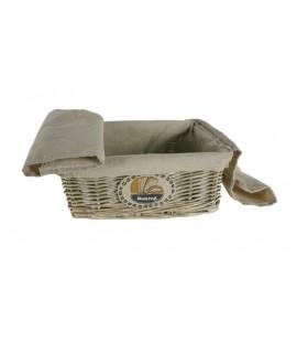 Panera de mimbre color claro con forro de tela para el pan
