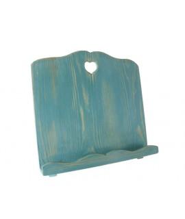 Atril de madera envejecida color azul forma corazón