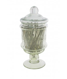 Dispensador de bastonets de cotó per a bany. Mesures: 18xØ8 cm.