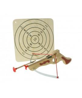 Ballesta deportiva de madera con flechas y diana