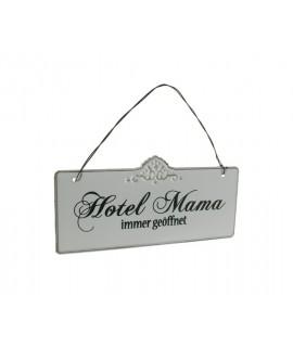 Placa de metal con inscripción Hotel Mama. Medidas: 21x10 cm.
