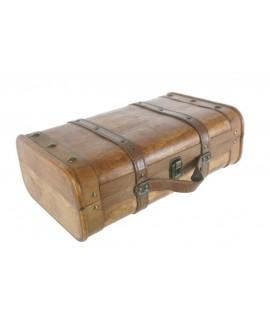 Maleta petita de fusta color cirerer. Mesures: 14x38x24 cm.