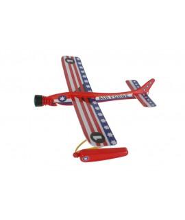 Avión planeador de catapulta en colores variados. Medidas: 20x22 cm.