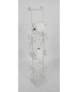 Porta-rotlles per a bany de ferro forja color blanc. Mesures: 97x20x17 cm.