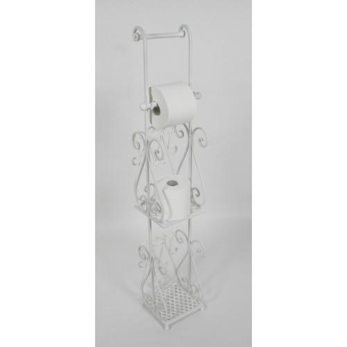 Portarrollos para baño de hierro forja color blanco. Medidas: 97x20x17 cm.