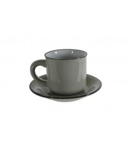 Taza de café expreso con plato color gris...