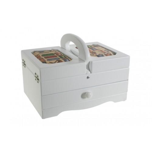 Costurero blanco con tapas acolchadas y cajón central. Medidas: 18x24x17 cm.