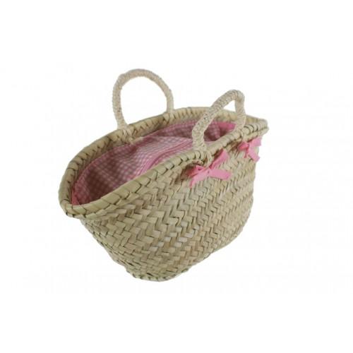 Capazo mallorquín infantil cerrado color rosa con asa de cuerda. Medidas: 15x30x12 cm.