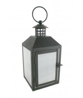 Fanalet petit de vidre i metall color blanc. Mesures: 16x8x8 cm.