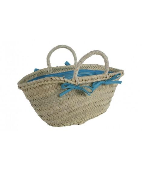Capazo mallorquín infantil color azul con cierre cremallera
