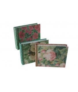 Libreta pequeña de bolsillo tapas rígidas en tela de hojas blancas