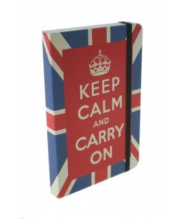 Libreta con mensaje KEEP CALM and CARRY ON estilo vintage color rojo