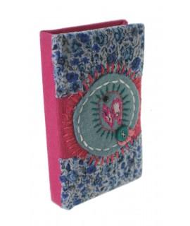 Libreta pequeña de bolsillo y para bolso tapas color azul rosa flores