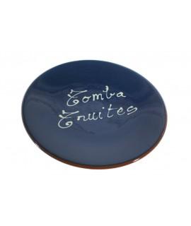 Tapa plat volteja gira truites de ceràmica d'argila color blau fabricació artesanal estris de cuina regal original