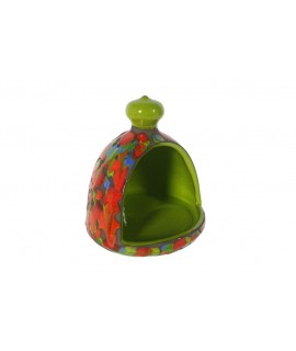 Porta fregalls de ceràmica color pistatxo espurnejat. Mesures: 16xØ15 cm.