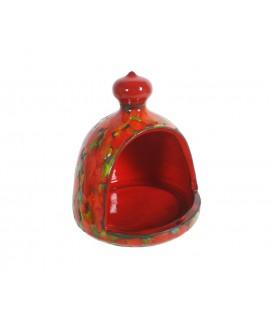 Porta estropajos grande color rojo de cerámica para cocina