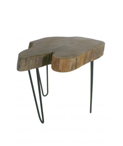 Tauleta auxiliar fusta d'arrel de teca amb potes de metall. Mesures: 51x55x55 cm.