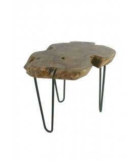 Tauleta centre fusta d'arrel de teca amb potes de metall. Mesures: 46xØ50 cm.