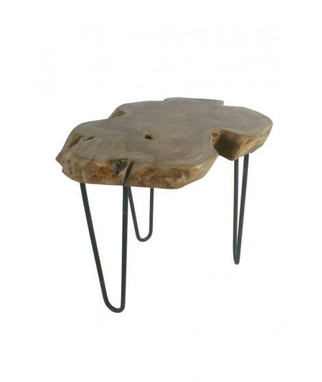 Mesita centro madera de raíz de teca con patas de metal. Medidas: 46xØ50 cm.