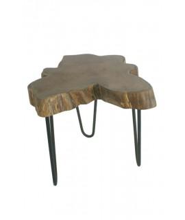 Tauleta baixa fusta d'arrel de teca amb potes de metall. Mesures: 39xØ45 cm.