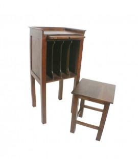 Telefonera con taburete de madera de acacia color nogal. Medidas: 89x35x41 cm.