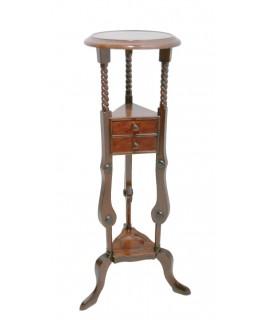 Pedestal de madera de caoba