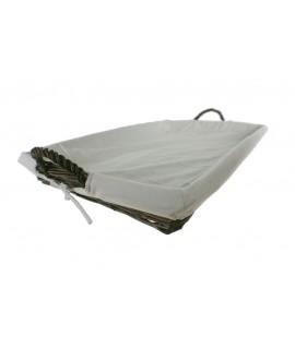 Bandeja para la ropa de planchado en mimbre color nogal y forrada en tela desmontable. Medidas: 63x43 cm.