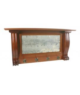 Colgador perchero con estante y espejo pared cuatro ganchos madera cedro