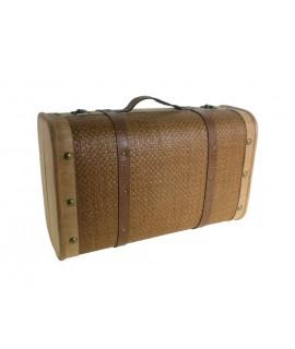 Maleta grande de madera decorada con fibras naturales almacenaje decoración hogar estilo nórdico. Medidas: 25x60x38 cm.