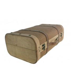 Valise moyenne en bois couleur naturelle décoration nordique vintage
