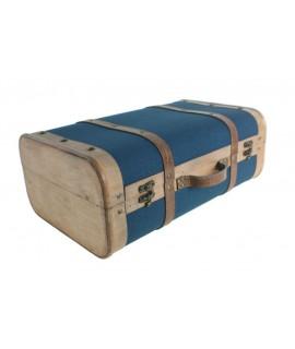 Valise moyenne en bois doublée de toile bleue.