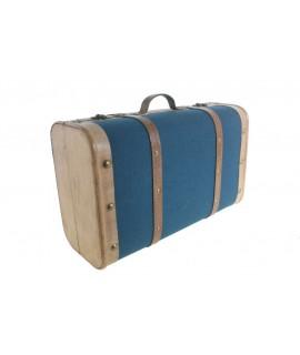 Maleta grande de madera forrada con lienzo azul.