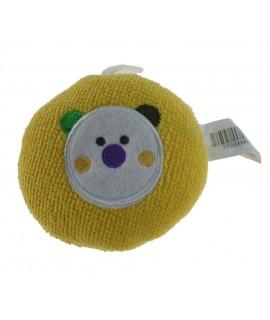 Esponja infantil para baño bebé color amarillo con osito regalo para recién nacido. Medidas: Ø 11 cm.