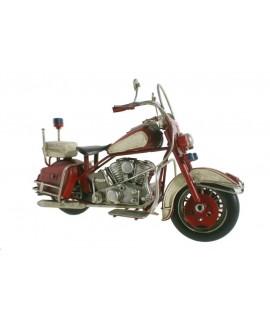 Moto decoració en metall color vermell blanc estil retro per a col·leccionistes.
