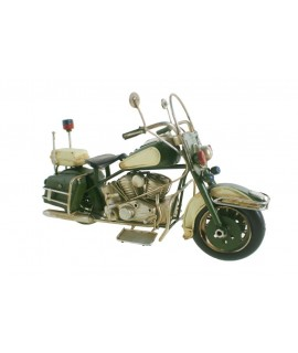 Décoration de moto dans un style rétro en métal vert pour les collectionneurs.